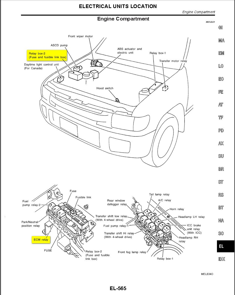 Infiniti G35 Fuse Box Diagram Wiring Diagrams additionally Nissan Xterra Catalytic Converter Bank 2 Location additionally Infiniti G35 Evap Canister Location further 680tt Infiniti Qx4 Eccs2 Fuse Keeps Blowing Controlled as well . on 2008 infiniti qx56 fuse diagram